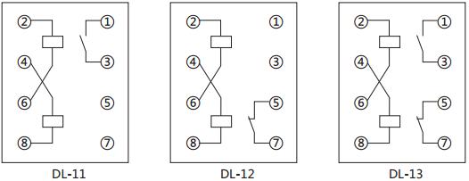 dl-11电流继电器内部接线及外引接线图(背视图)
