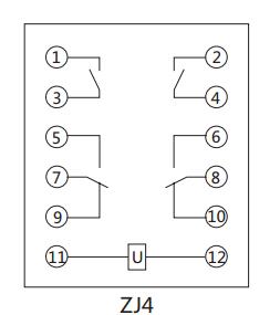 ZJ4中間繼電器內部接線圖及外引接線圖
